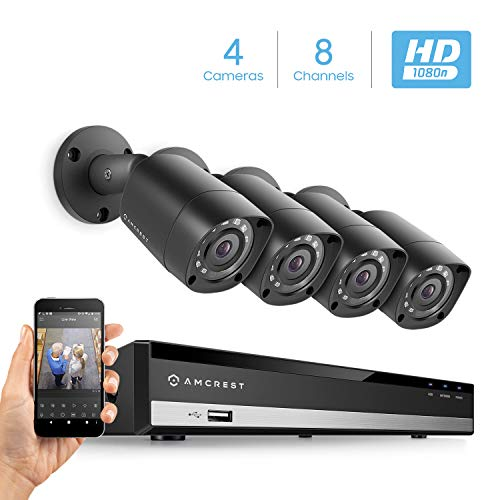 Amcrest HD 1080-Lite 8CH Video Security Camera System w/ 4 720P Ip67 Outdoor Cameras, Black