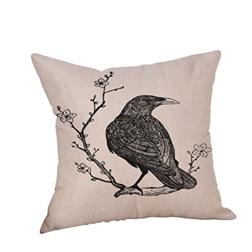 "Clearance! Paymenow Happy Halloween Crow Pillow Cases Linen Sofa Bed Cushion Cover Home Decor (18"" x 18"", H)"