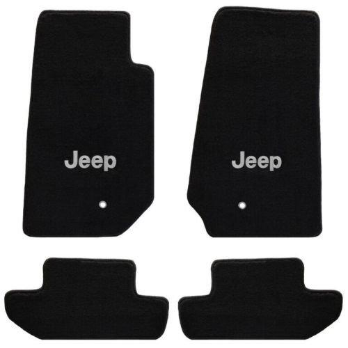 Jeep Wrangler 4 Pc Lloyd's All Weather Carpet Floor Mats w / Silver JEEP Logo Custom fits 2007-2010 2 Door Model Only