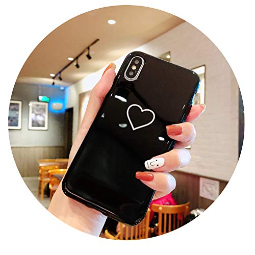 r iPhone 8 Plus X XS XR Max Case Crown Cute Soft Cover Case for iPhone 6S 6 7 Plus Queen Couple Cases,Heart BK,for iPhone Xs ()