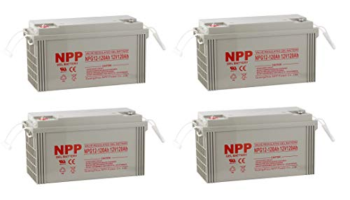 (NPP NPG12-120Ah Rechargeable Gel Deep Cycle 12V 120Ah Battery Button Style Terminals (4 Pack))