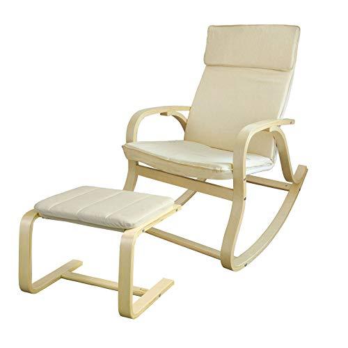 Sobuy Rocking Chair Fauteuil A Bascule Avec Repose Pieds Rembourre