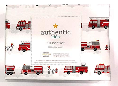Authentic Kids 4 Piece Full Sheet Set Red Fire Trucks Fire Engines with Dalmatian Fire Dogs | 100% Cotton Sateen