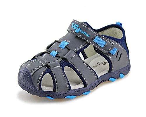 Adventure Sandals (Jabasic Kids Closed-Toe Outdoor Strap Adventure Sporty Sandals (8 M US Toddler, Blue-2))