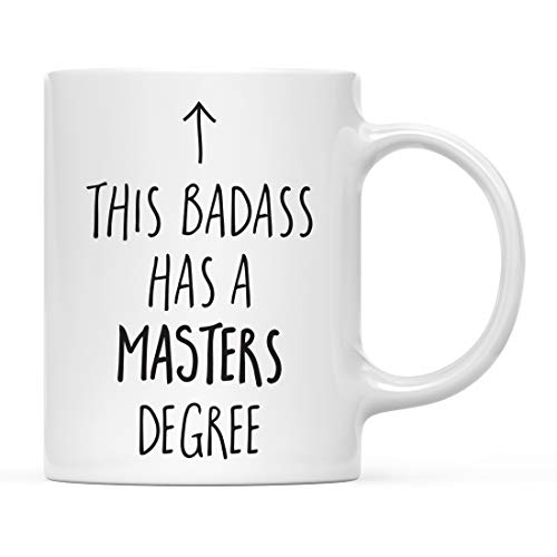 Andaz Press 11oz. Graduation Coffee Mug Gift, This Badass Has a Masters Degree, Arrow Graphic, 1-Pack, Includes Gift Box, Cups for Graduates School Students of Class of 2019, Grad Diploma -