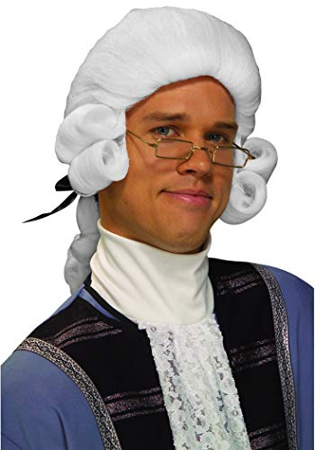 Forum Novelties Men's Colonial George Washington Historical Costume Wig, White, One Size]()
