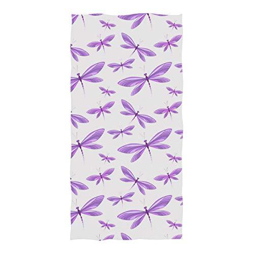 Horatiood Huberyyd Purple Diamond Painting Dragonfly Microfiber Beach Towel for Girl & BoyOversized Pool Towel for Beach/Shower Towel - 7437 in