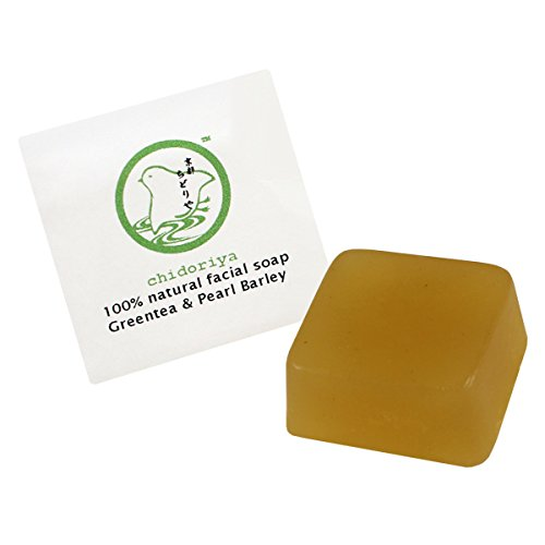 Chidoriya Organic Matcha Green Tea and Pearl Barley Facial Soap with Brown Sugar and Seaweed Powder for Trouble Skin, Great for Oily Mature Blemish Prone and or Combination Skin Types, ()