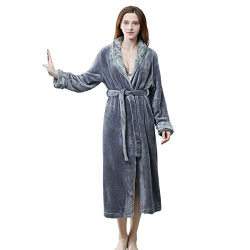 - Bath Robe Long for Womens Plush Soft Warm Fleece Bathrobes Sleepwear Dressing Gown Housecoat (XL, Grey)
