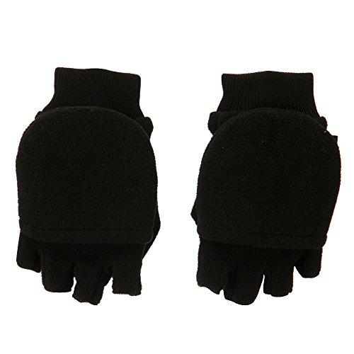 Boy's Fleece Flip Top Mitt Glove - Black OSFM