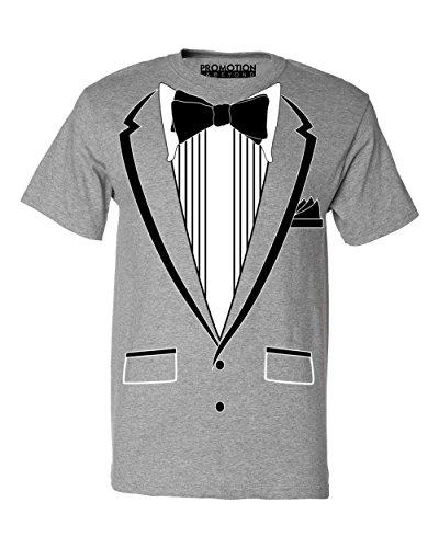 Promotion & Beyond Tuxedo (Black) with Pocket Square Ceremony Men's T-Shirt, 2XL, H. Grey