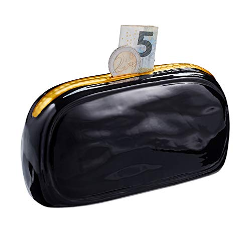 Relaxdays Purse Savings, Ceramic Wallet Money Box for Girls and Ladies, Piggy Bank, Black/Gold, H x W x D: app. 8 x 16 x 6 -