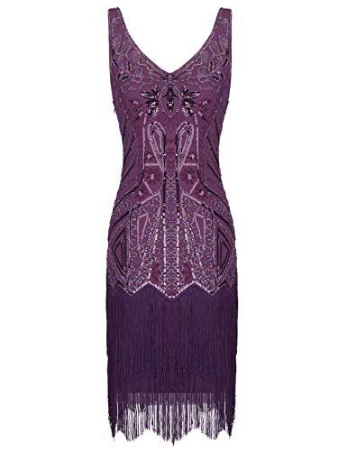 D20s020 Gatsby Embelli Pailletté Robe Flapper Court Couple Style 027purple De Fairy 1920s Frange TPCqfv