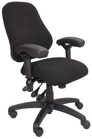 BodyBilt J2406 Black Fabric High Back Petite Task Chair With Arms, 20u0026quot;  Length X