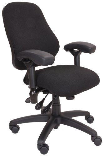 "BodyBilt J2406 Black Fabric High Back Petite Thoracic Support Task Chair with Arms, 20"" Length x 20"" Width Backrest, 18.5"" Width Seat, Grade 3 Comfortek"
