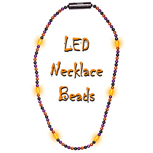 Fun Central Multicolor LED Bead Necklace - Light Up Halloween Necklace Party Supplies for Kids & Adults