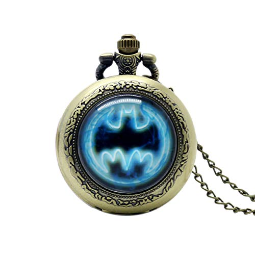 Commemorative Pocket Watch, Batman Movie Theme Extension Brass Pocket Watch for Boys Girls, Antique Pocket Watch Gift