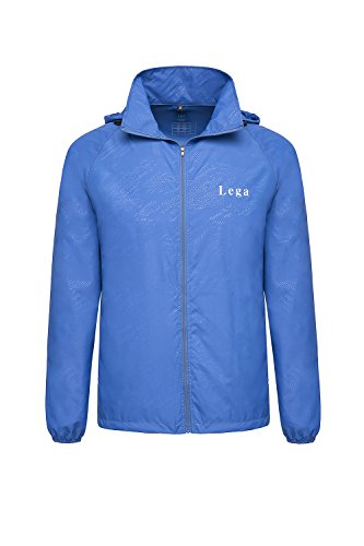 Lega Men's Hooded Windbreaker Lightweight Packable Skin Coat UV Protect Outdoor Sport Jacket