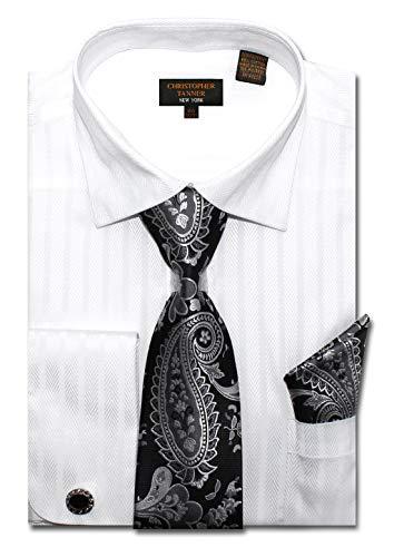 (Christopher Tanner Men's Regular Fit Dress Shirts with Tie Handkerchief Cufflinks Combo Herringbone Stripe Pattern White)