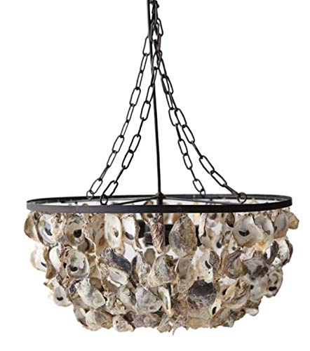 The Kings Bay Oyster Shell Pendant Round Chandelier Hand Made Nautical Beach Home Light ()