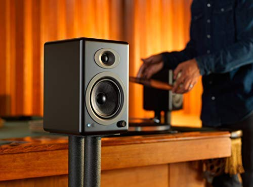 Audioengine A5+ 150W Wireless Powered Bookshelf Speakers | Built-in Analog Amplifier | aptX HD Bluetooth 24 Bit DAC, RCA and 3.5mm inputs | Solid Aluminium Remote Control | Cables Included by Audioengine (Image #5)
