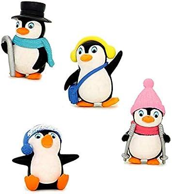 4 قطع لعبة شخصيات البطريق الجميلة ذات منظر طبيعي مجموعة شخصيات
