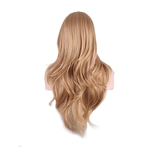 Mme élégant brun clair perruque de longs cheveux bouclés production de fil à haute température