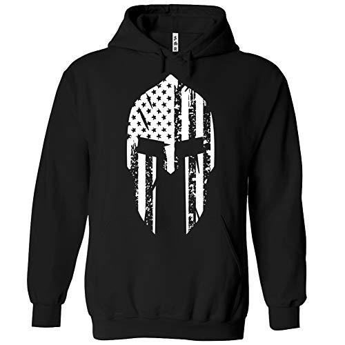 Spartan Helmet US Flag Hoodie Patriotic Sweatshirt Black   XX-Large ()