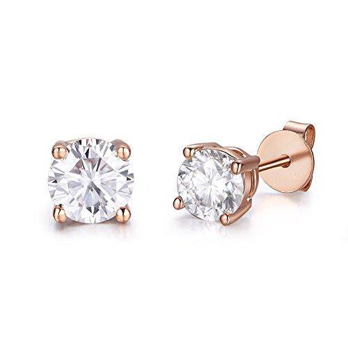5mm Moissanite 1.0 cttw 14k Gold Screw Back Round 4 Prong Stud Earrings (0.82 cttw Moissanite, G-H Color, VS1-VS2) (rose-gold) 14k Vs1 Earrings
