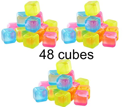 (Reusable Plastic Ice Cubes - Colors May Vary (48 cubes))