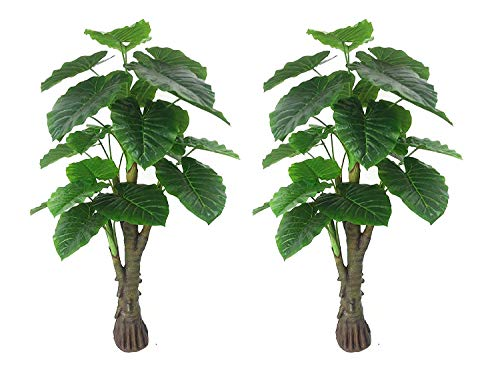 AMERIQUE Pair Gorgeous & Unique 6 Feet Royal Hawaiian Elephant Ear Artificial Trees with Giant Leaves, UV Protection…