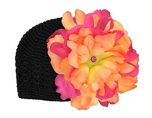 Black Crochet Hat with Orange Raspberry Large Peony, Size: 12-18m (Peony Black Crochet)