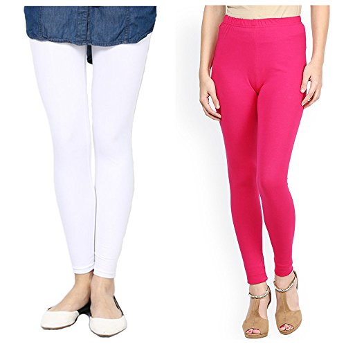 ankle length leggings white hot pink