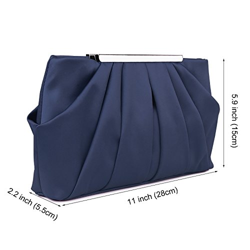 Bag With Cocktail Handbag Satin Blue Chain Strap Womens Clutch Wedding Pleated Party Detachable Evening wqUq476