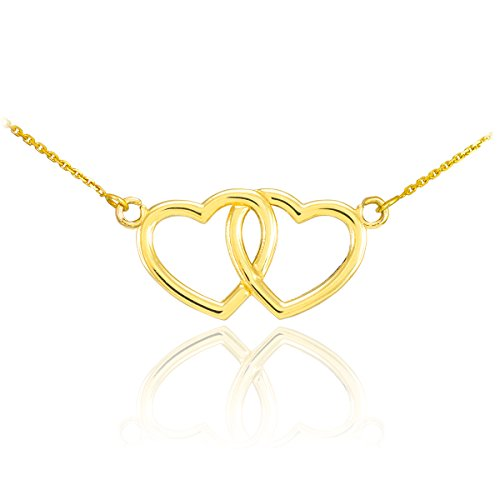 14k Yellow Gold Double Open Heart Necklace, , ()