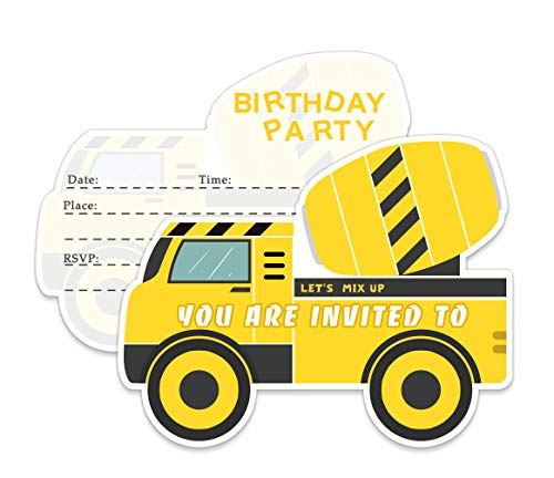 Yangmics Direct 20 Construction Dump Trucks Birthday Party Invitations with Envelopes-Double Sided -Shaped Fill-in Invitations-Kids for Boys