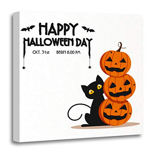 Emvency Canvas Wall Art Print Happy Halloween Day Bat and Spider on Text Cute Pumpkin Smile Spooky Scary But and Black Cat Party White Artwork for Home Decor 12 x 12 Inches -