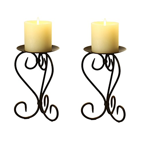 Adeco HD0023 HD0023 Adeco Brown Bronze Iron Table Desk Top Candle Holder, Elegant Scroll Design, Antique Roman Style Base, Holds One Pillar Candle Each (Set of Two),black with antique finish (Roman Scroll)