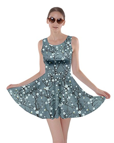 CowCow Womens Blue Water with Pattern Tree Japanese Cherry Blossom Skater Dress, Blue - L