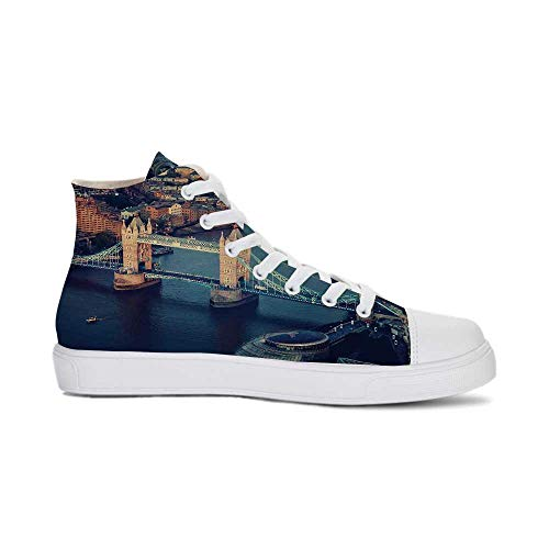 YOLIYANA London Durable High Top Canvas Shoes,London Aerial View with Tower Bridge at Sunset Internatinal Big Old UK British River Decorative for Men,US -