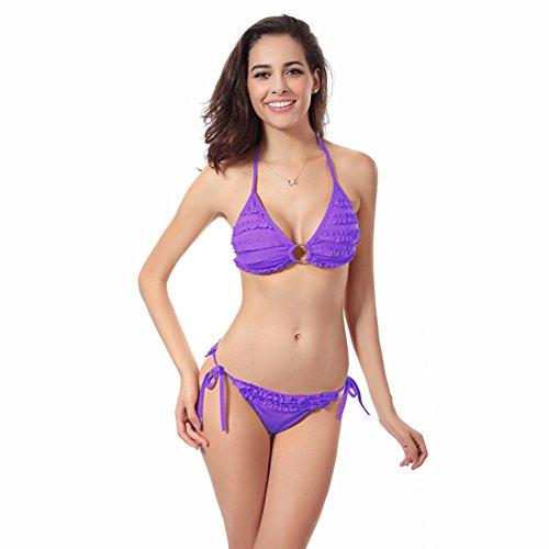 Hjuns Mujer Bandage Bikini conjunto Swimwear Bra Morado