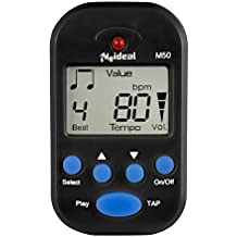 JSH Digital Metronome Clip-On Metronome Digital Beat Tempo Mini Metronome Portable Electronic Metronome With Battery, Suitable for Piano, Violin, Guitar, Trap Drum,Running- (Black)