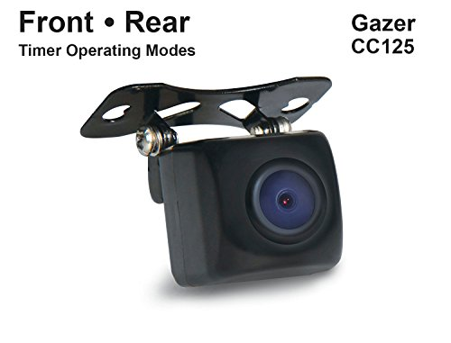 Gazer CC125 HD 170 Car Rear View Backup Camera for OEM Installation Instead of License Plate Light / Turns On and Stay Work 10sec Timer / Mirrored Image, Guide Lines, PAL-NTSC - On-Off / IP67