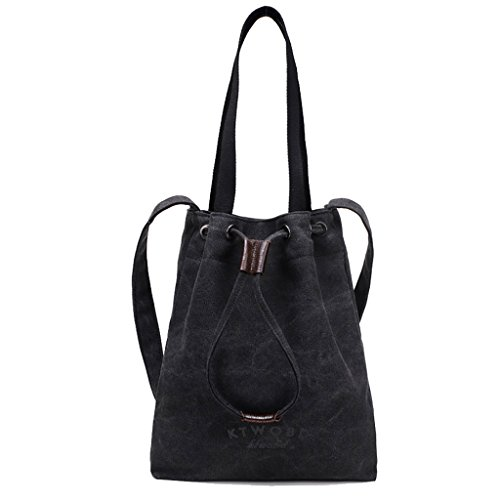 TSRHFGT Tote Hobo Durable Bag Bags Canvas Black Portable Women Casual Shoulder Bag Handbag Drawsting rWZnqfrUwx