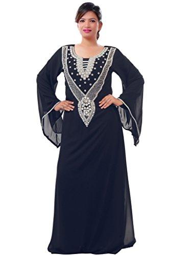 Dubai Very Fancy Kaftan Luxury Crystal Beaded Caftan Abaya Wedding Dress (XXXXL, Black) by Leena
