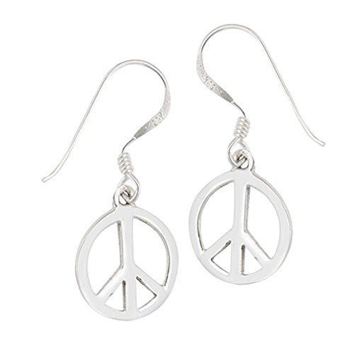 (.925 Sterling Silver Retro Peace Sign Dangle French Wire Earrings)