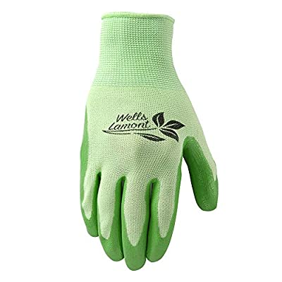Wells Lamont 536L Women's All Purpose Garden Glove, Nitrile Coated Knit Shell and Palm, Waterproof, Green, Large