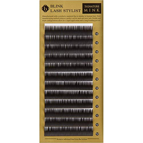 Look Strand Single - Signature Mink Eyelash Extensions by Blink | Individual Single Strand Extensions on the Tray | C Curl 0.25mm Thickness | 8mm to 15mm Length Options | Soft Natural Look Lashes | Length (13mm)