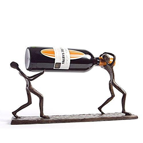 (Danya B. ZI7237 Decorative Single Bottle Metal Wine Holder - Iron Sculpture of Two Men Carrying a Bottle)