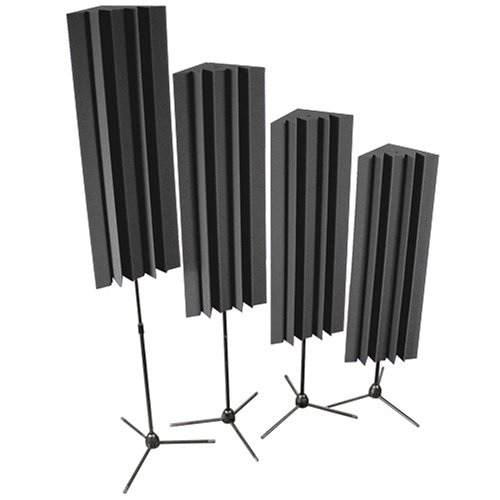Auralex S-MLENCHA Stand-Mounted LENRD Bass Traps in Charcoal: 4- 12x12x17 Triangular; 48 Long with 4- Stands